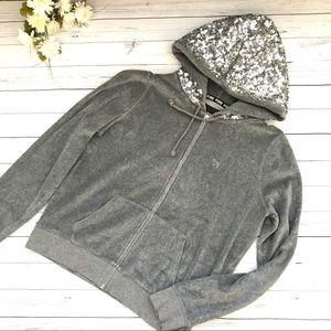 Grey Pink Victoria's Secret  Hoodie Sweat Shirt